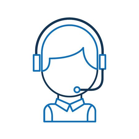 call center operator with phone headset vector illustration Ilustração