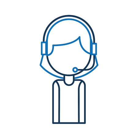 portrait of customer support operator call center worker with headset vector illustration 向量圖像