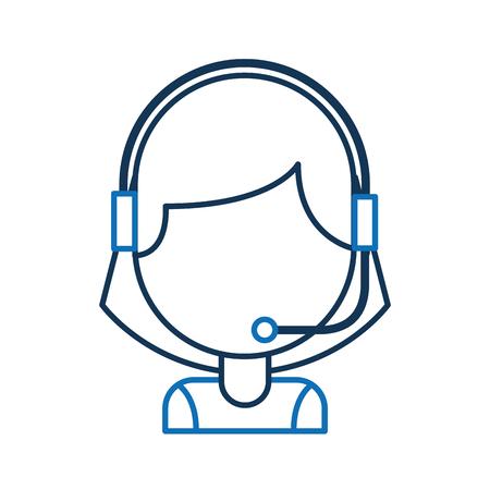 portret van klant ondersteuning exploitant call center werknemer met hoofdtelefoon vectorillustratie Stock Illustratie