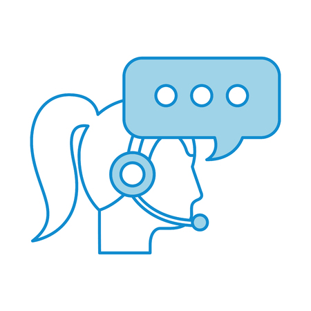 call center woman operator customer support and speech bubble vector illustration Illustration