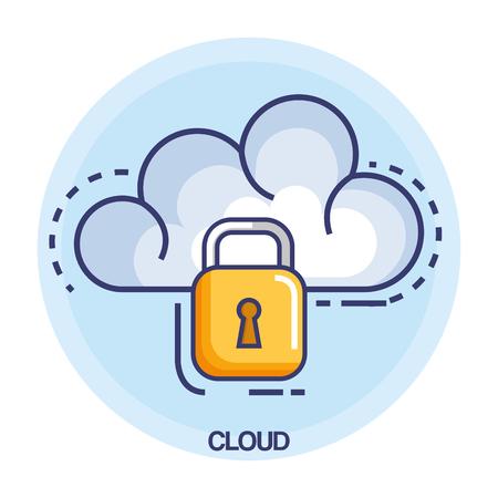 cloud computing set flat icons vector illustration design Stock Vector - 86641759