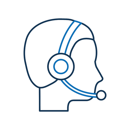 profile man operator of customer service with headset work vector illustration