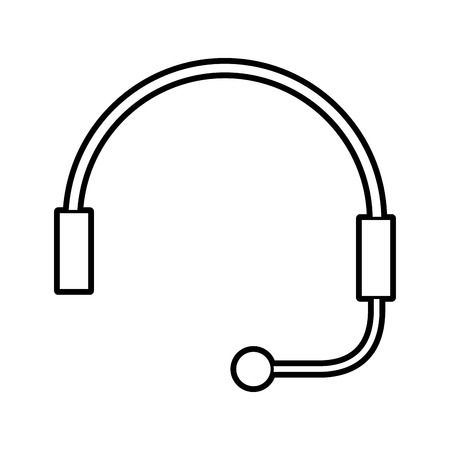 headphone for support or service customer vector illustration