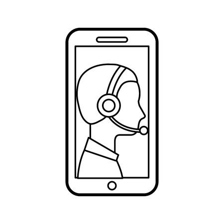 연락처 지원 고객 서비스 스마트 폰 온라인 전문가 벡터 일러스트 레이션
