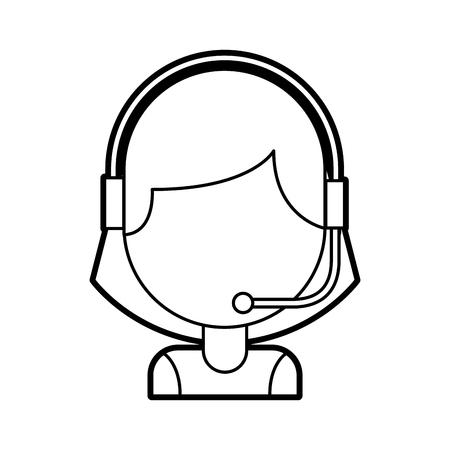 お客様の肖像画サポート オペレーター コール センター ワーカー ヘッドセット ベクトル イラスト