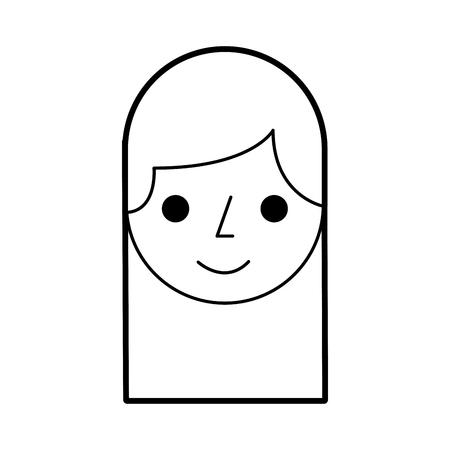 cartoon vrouw gezicht glimlach werknemer vectorillustratie