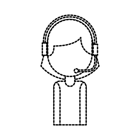 portrait of customer support operator call center worker with headset vector illustration Çizim