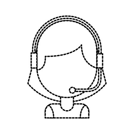 헤드셋 벡터 일러스트와 고객 지원 연산자 콜 센터 노동자의 초상화 일러스트