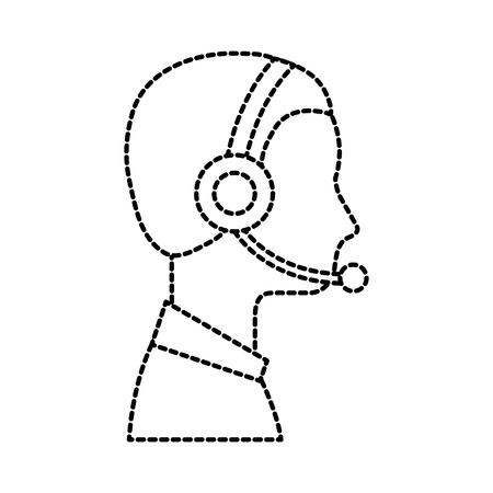 profiel man exploitant van klantenservice met hoofdtelefoon werk vectorillustratie