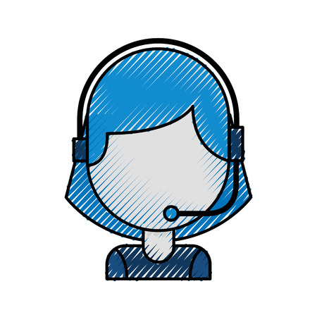 portrait of customer support operator call center worker with headset vector illustration Illustration