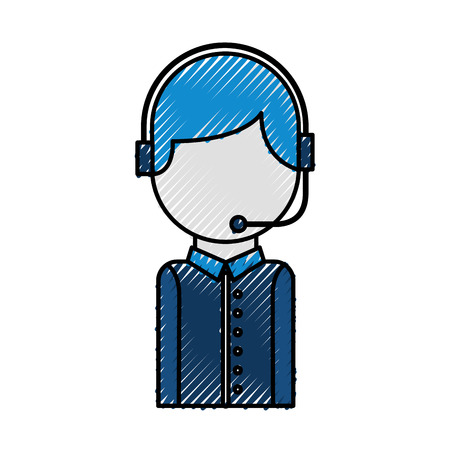 call center operator with phone headset vector illustration Illusztráció