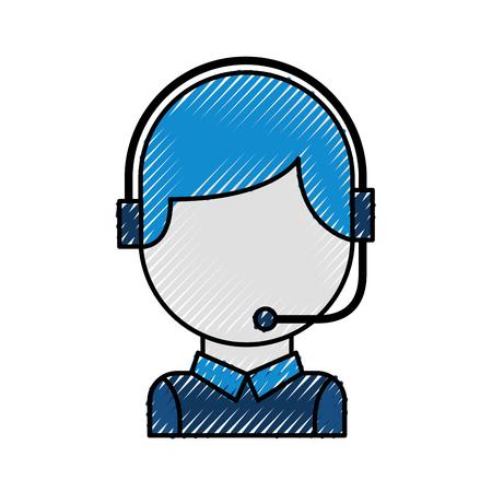 Operatore di call center con illustrazione vettoriale auricolare telefono Archivio Fotografico - 86641889