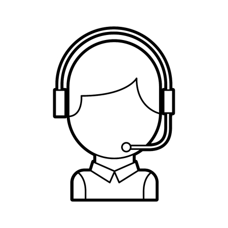 call center operator with phone headset vector illustration Illustration