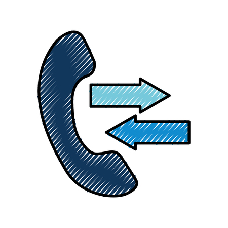 phone service help with arrows outgoing incoming call vector illustration