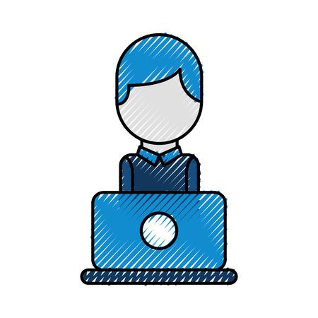 exploitant van callcenterbureau die in hoofdtelefoons met mic bij haar laptop computer vectorillustratie werken