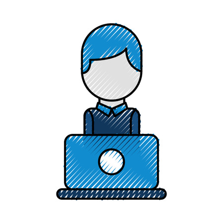 operator of call center office working in headphones with mic at her laptop computer vector illustration