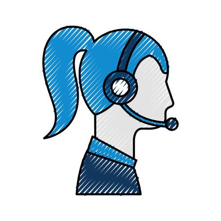 ヘッドフォンとマイクのベクトル図を着てオペレーター女性プロフィール カスタマー サービス  イラスト・ベクター素材