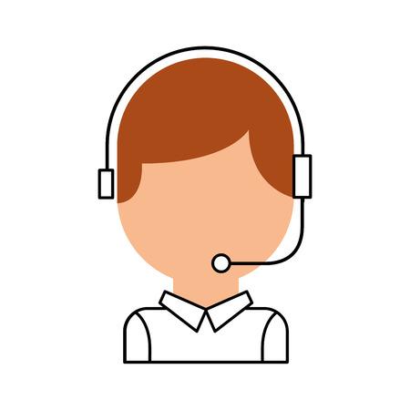 opérateur opérateur de centre avec téléphone casque illustration vectorielle