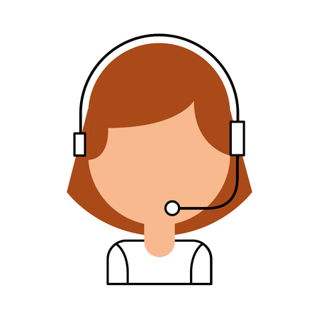 retrato de operador de call center operador de call center con la ilustración del vector del auricular