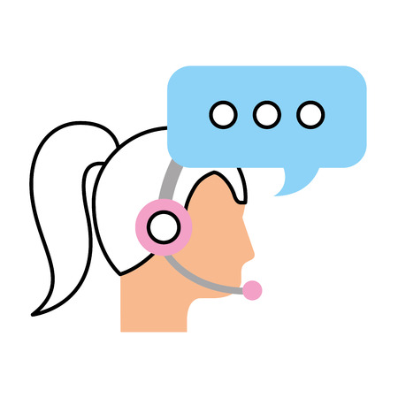 call center woman operator customer support and speech bubble vector illustration Ilustracja