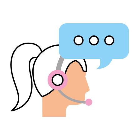 call center woman operator customer support and speech bubble vector illustration Иллюстрация