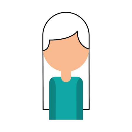 portrait female employee call center work vector illustration