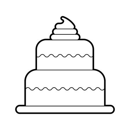 甘い焼きケーキ誕生日クリームおいしいベクトル図 写真素材 - 86641938