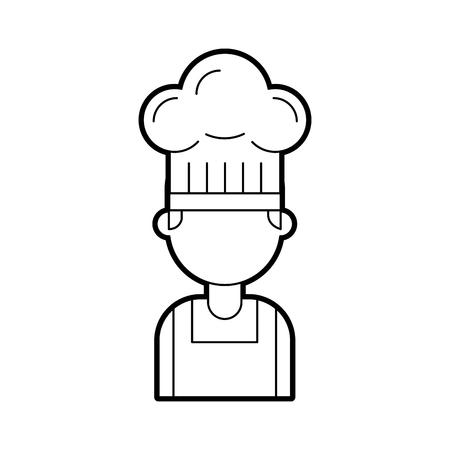 portrait young confident chef man in uniform hat vector illustration