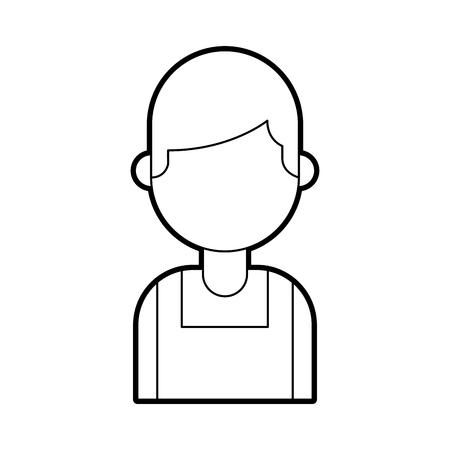 portrait young confident chef man in uniform vector illustration Illustration