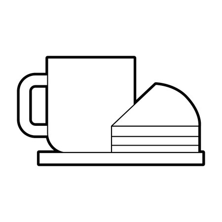 coffee cup cake piece plate fresh vector illustration Illustration