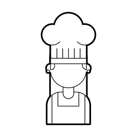Femme chef mignon dans l & # 39 ; uniforme et le chapeau personnage illustration vectorielle Banque d'images - 86641946