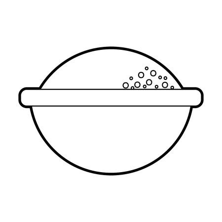 cartoon bowl with flour ingredient bakery and dessert vector illustration Çizim