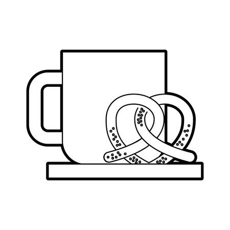 朝食のコーヒーとプレッツェル ホット生鮮食品のベクトル図  イラスト・ベクター素材