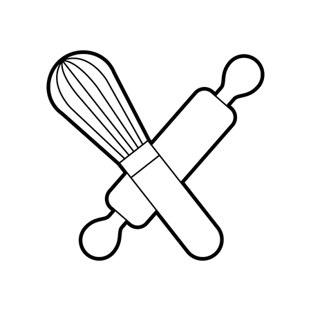 rolling pin and hand mixer tool kitchen cook vector illustration
