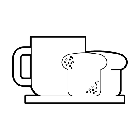 coffee cup bread dish breakfast food vector illustration Ilustrace
