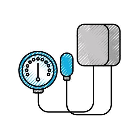 Tonometria medica per la misurazione della pressione sanguigna isolata sull'illustrazione bianca di vettore del fondo Archivio Fotografico - 86641964