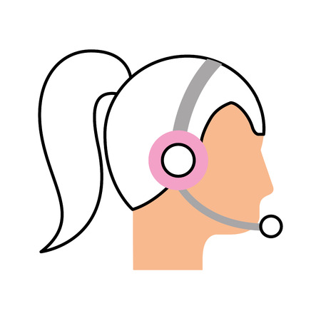 operator woman profile customer service wearing headphones and microphone vector illustration