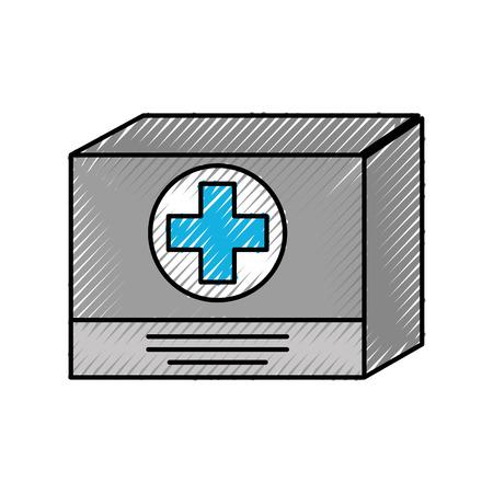 Boîte en carton médecine équipement approvisionnement icône vector illustration Banque d'images - 86898385