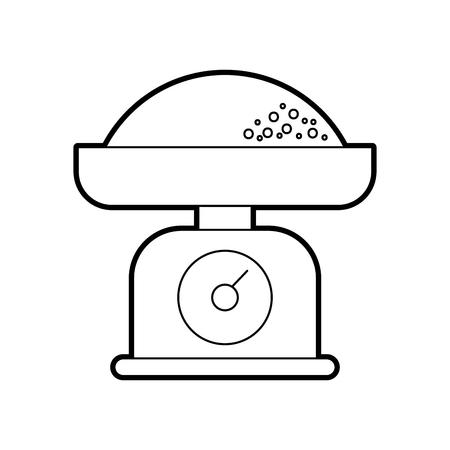 Balance et la farine de farine de poulet boulangerie boulangerie illustration vectorielle Banque d'images - 86641978