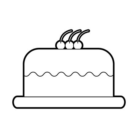 cake delicious berry bakery pastry food fresh vector illustration