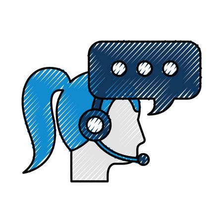 コール センター女性オペレーター顧客サポート、音声バブル ベクトル イラスト  イラスト・ベクター素材