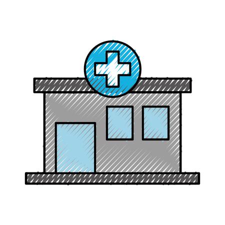 Illustrazione di vettore dell'icona di vista frontale del centro medico dell'ospedale della costruzione Archivio Fotografico - 86898395