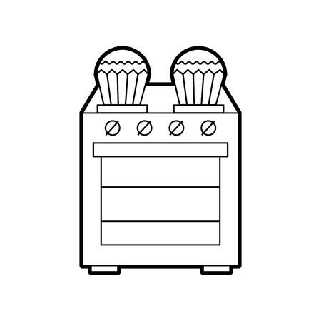 벡터 일러스트 레이 션을 요리하는 스토브 위에 부엌 컵 케 잌은 일러스트