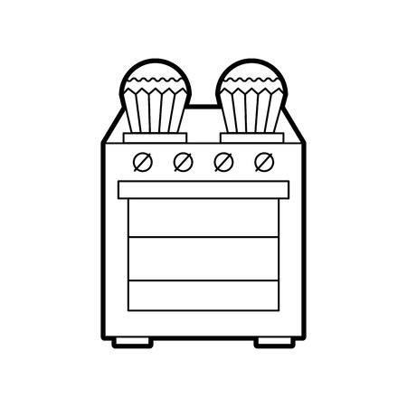 kitchen cupcake over stove cooking vector illustration Stock fotó - 86641982