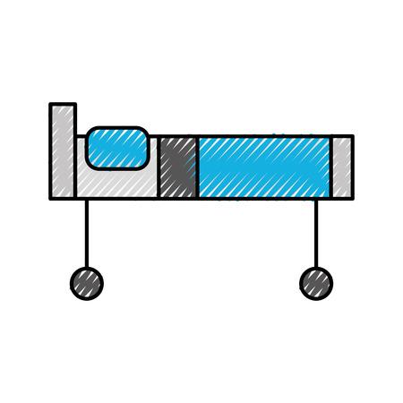 枕および車輪が付いている病院のベッドベクトルイラスト 写真素材 - 86641983