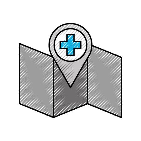 ziekenhuis apotheek wijzer op kaart locatie pictogram vector illustratie