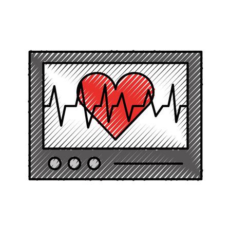 心電図マシン ハートビート監視ベクトル図を表示します。  イラスト・ベクター素材