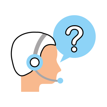 customer service operator with headset and speech bubble vector illustration Illusztráció