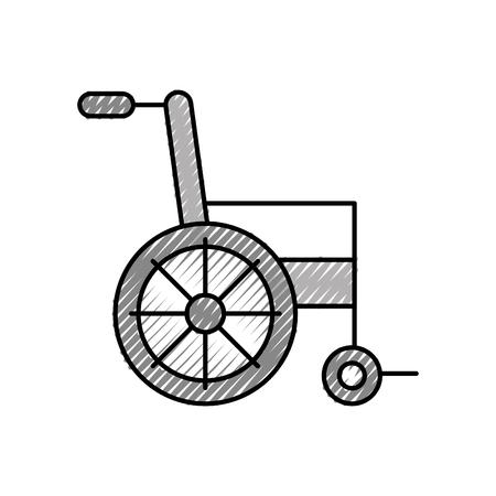 Equipo médico de silla de ruedas desactivar ilustración de vector de transporte Foto de archivo - 86641998