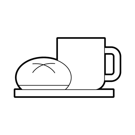 coffee cup bun bread dish breakfast food fresh hot vector illustration Ilustrace